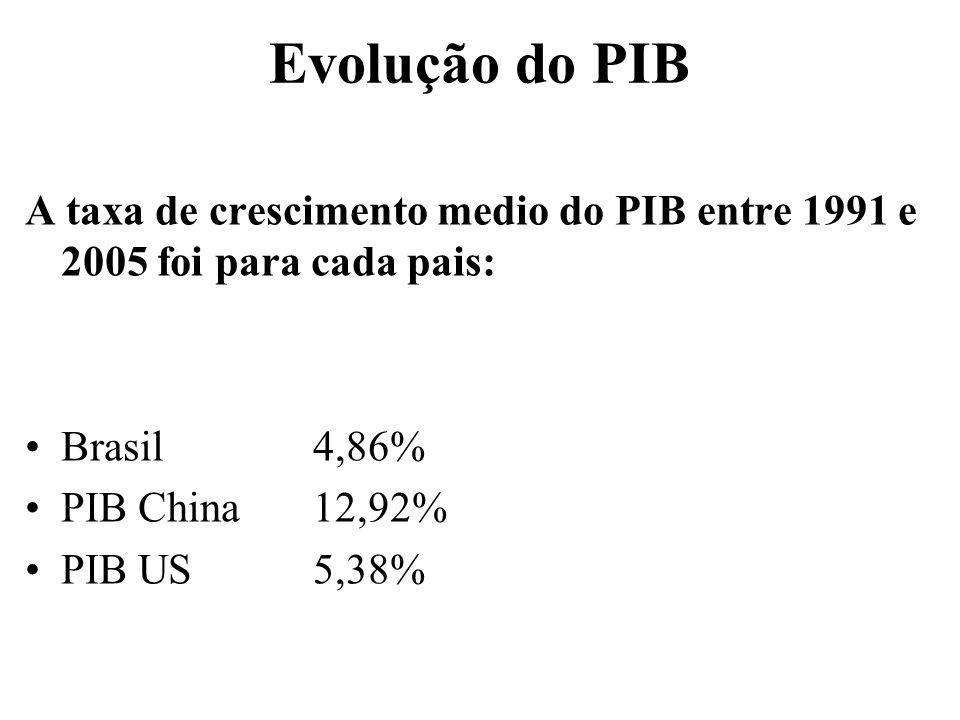 Evolução do PIB A taxa de crescimento medio do PIB entre 1991 e 2005 foi para cada pais: Brasil 4,86% PIB China12,92% PIB US5,38%