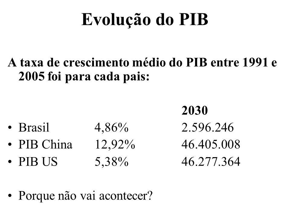 Evolução do PIB A taxa de crescimento médio do PIB entre 1991 e 2005 foi para cada pais: 2030 Brasil 4,86%2.596.246 PIB China12,92%46.405.008 PIB US5,