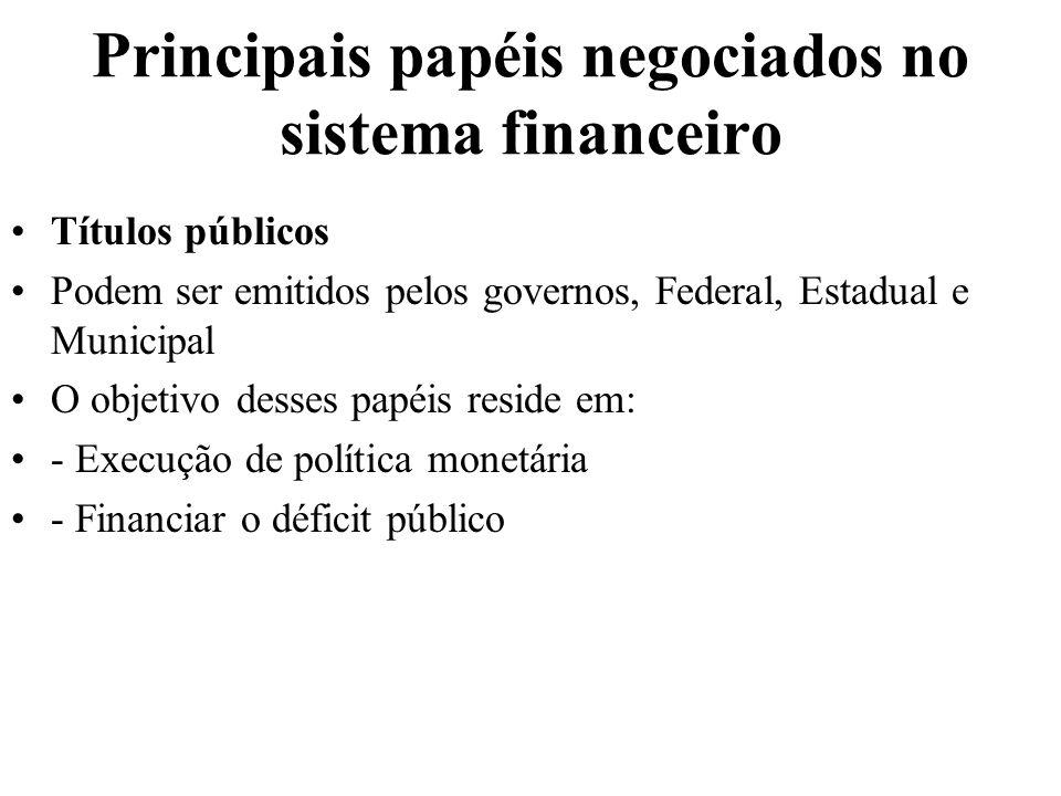 Principais papéis negociados no sistema financeiro Títulos públicos Podem ser emitidos pelos governos, Federal, Estadual e Municipal O objetivo desses