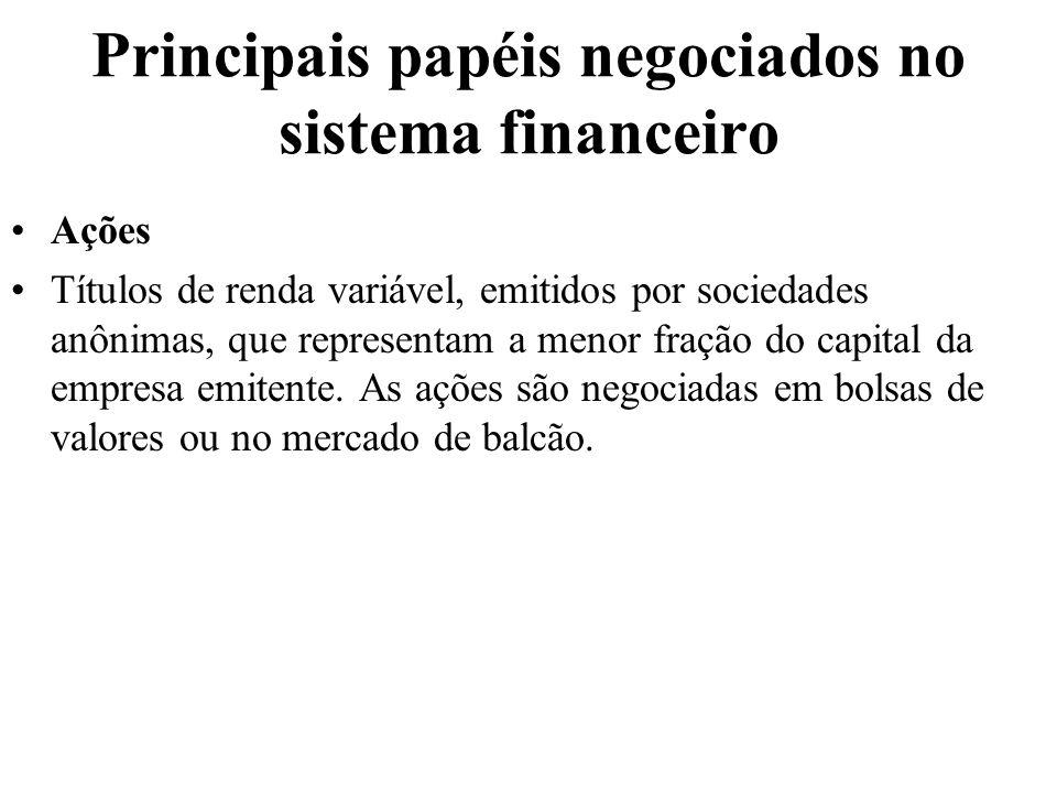 Principais papéis negociados no sistema financeiro Ações Títulos de renda variável, emitidos por sociedades anônimas, que representam a menor fração d