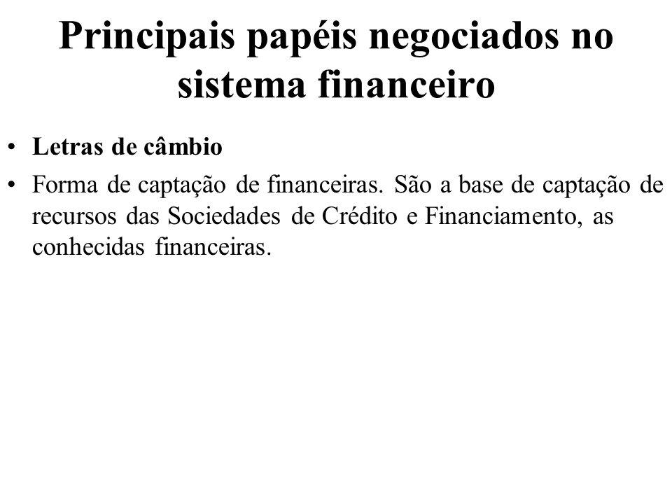 Principais papéis negociados no sistema financeiro Letras de câmbio Forma de captação de financeiras. São a base de captação de recursos das Sociedade
