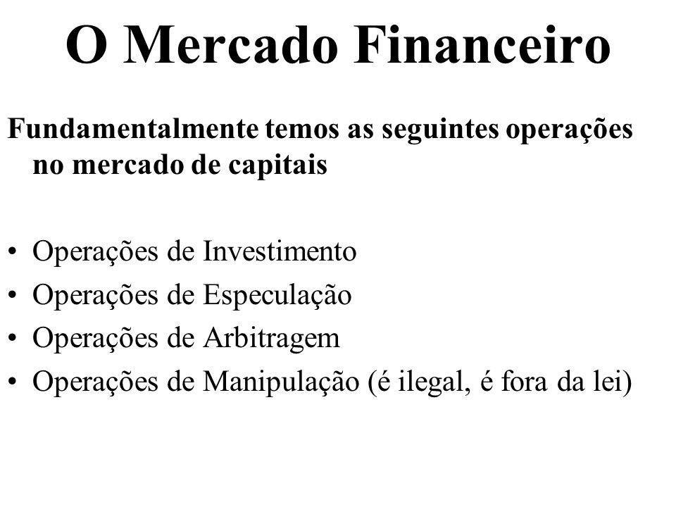O Mercado Financeiro Fundamentalmente temos as seguintes operações no mercado de capitais Operações de Investimento Operações de Especulação Operações