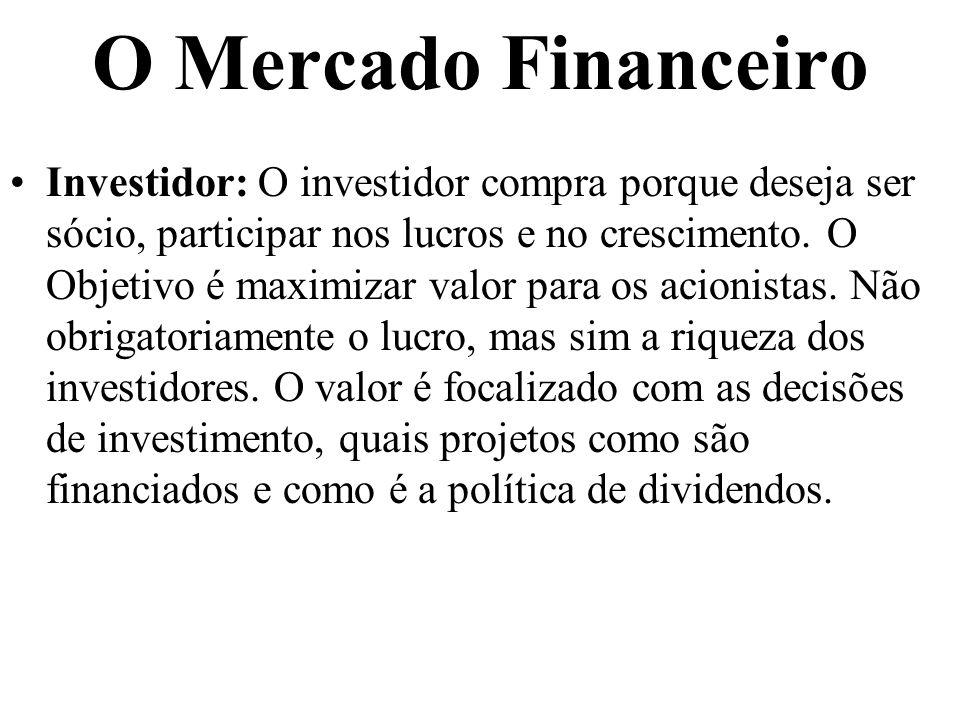 O Mercado Financeiro Investidor: O investidor compra porque deseja ser sócio, participar nos lucros e no crescimento. O Objetivo é maximizar valor par