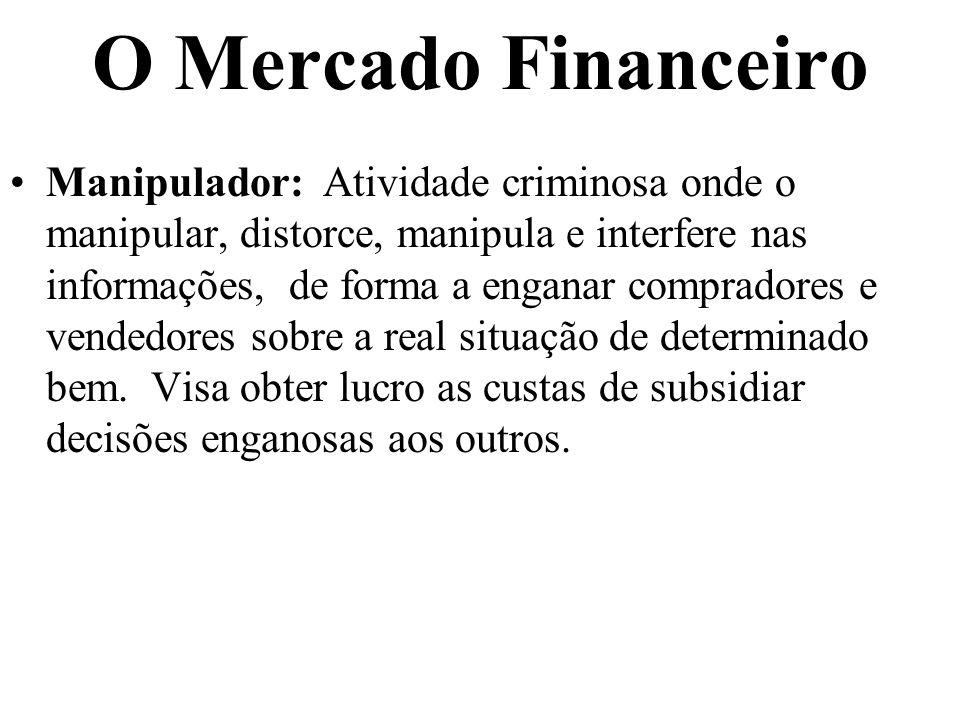 O Mercado Financeiro Manipulador: Atividade criminosa onde o manipular, distorce, manipula e interfere nas informações, de forma a enganar compradores
