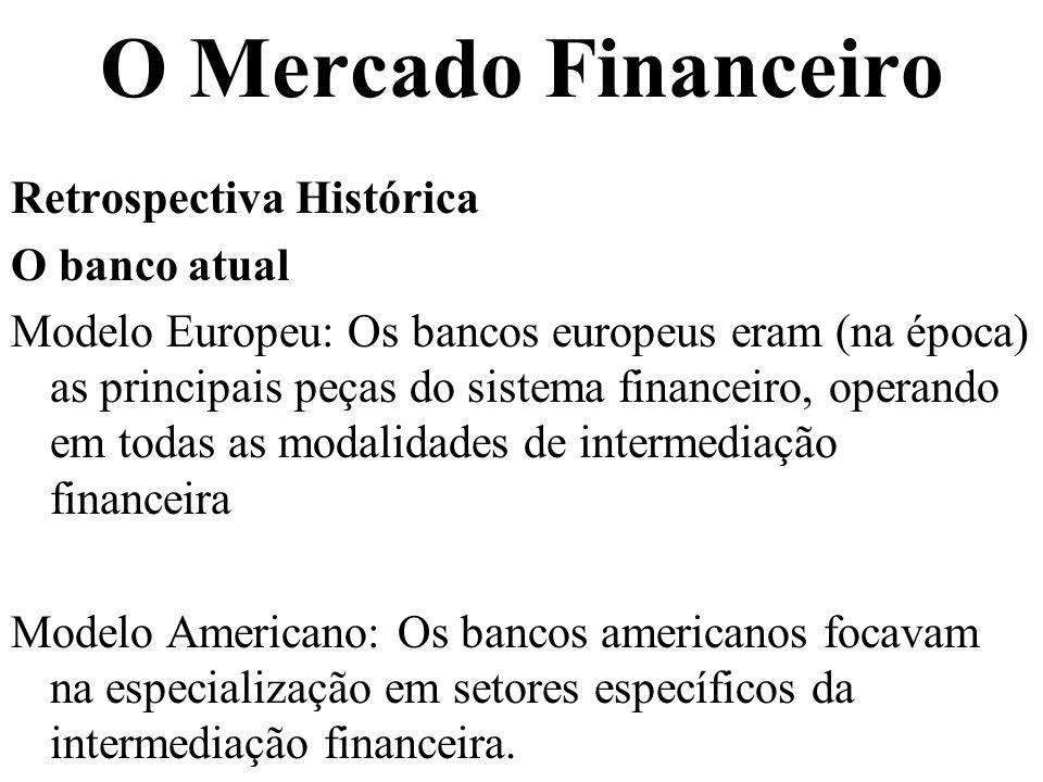 O Mercado Financeiro Retrospectiva Histórica O banco atual Modelo Europeu: Os bancos europeus eram (na época) as principais peças do sistema financeir