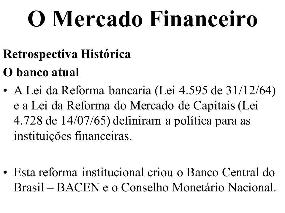 O Mercado Financeiro Retrospectiva Histórica O banco atual A Lei da Reforma bancaria (Lei 4.595 de 31/12/64) e a Lei da Reforma do Mercado de Capitais