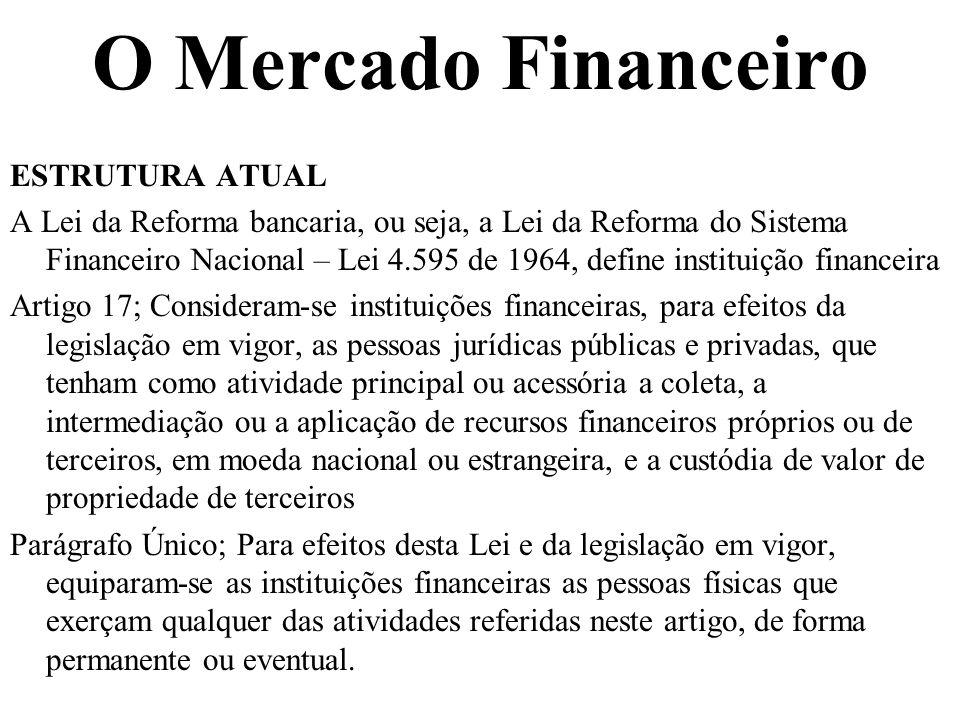 O Mercado Financeiro ESTRUTURA ATUAL A Lei da Reforma bancaria, ou seja, a Lei da Reforma do Sistema Financeiro Nacional – Lei 4.595 de 1964, define i