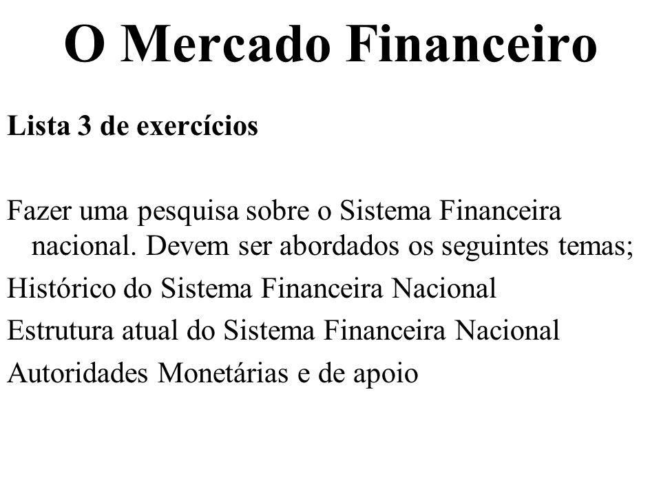O Mercado Financeiro Lista 3 de exercícios Fazer uma pesquisa sobre o Sistema Financeira nacional. Devem ser abordados os seguintes temas; Histórico d