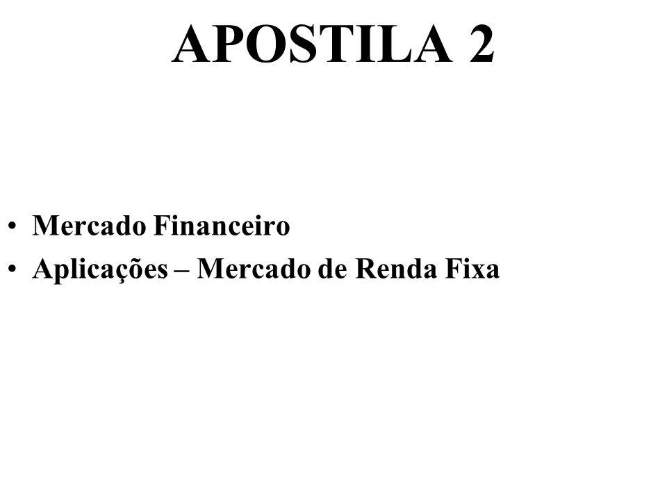 APOSTILA 2 Mercado Financeiro Aplicações – Mercado de Renda Fixa