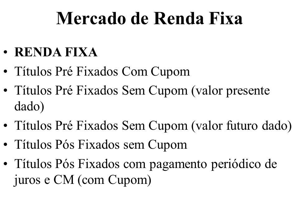 Mercado de Renda Fixa RENDA FIXA Títulos Pré Fixados Com Cupom Títulos Pré Fixados Sem Cupom (valor presente dado) Títulos Pré Fixados Sem Cupom (valo