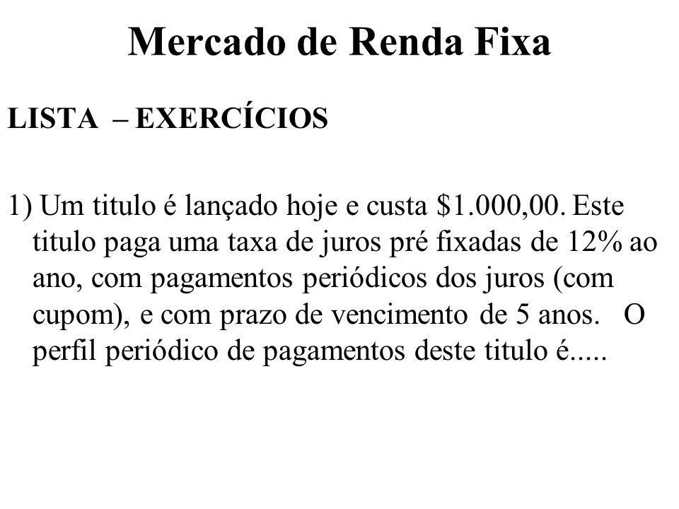 Mercado de Renda Fixa LISTA – EXERCÍCIOS 1) Um titulo é lançado hoje e custa $1.000,00. Este titulo paga uma taxa de juros pré fixadas de 12% ao ano,