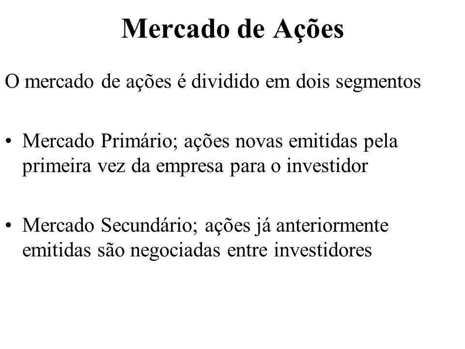 Mercado de Ações O mercado de ações é dividido em dois segmentos Mercado Primário; ações novas emitidas pela primeira vez da empresa para o investidor