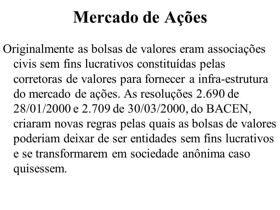Mercado de Ações Originalmente as bolsas de valores eram associações civis sem fins lucrativos constituídas pelas corretoras de valores para fornecer