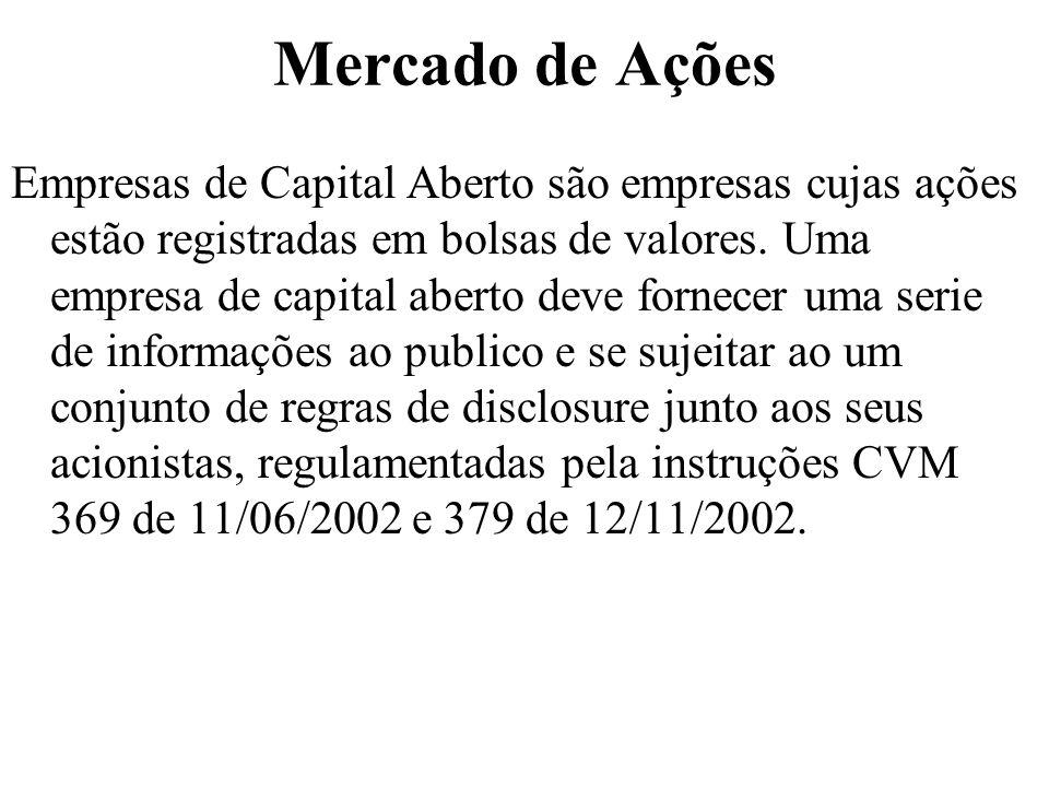 Mercado de Ações Empresas de Capital Aberto são empresas cujas ações estão registradas em bolsas de valores. Uma empresa de capital aberto deve fornec