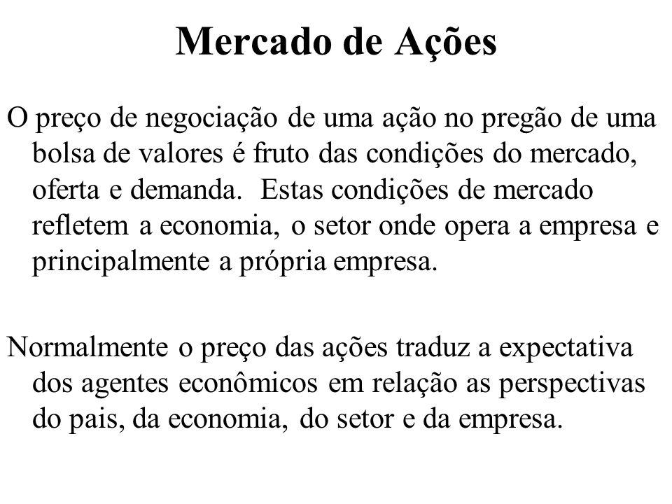 Mercado de Ações O preço de negociação de uma ação no pregão de uma bolsa de valores é fruto das condições do mercado, oferta e demanda. Estas condiçõ