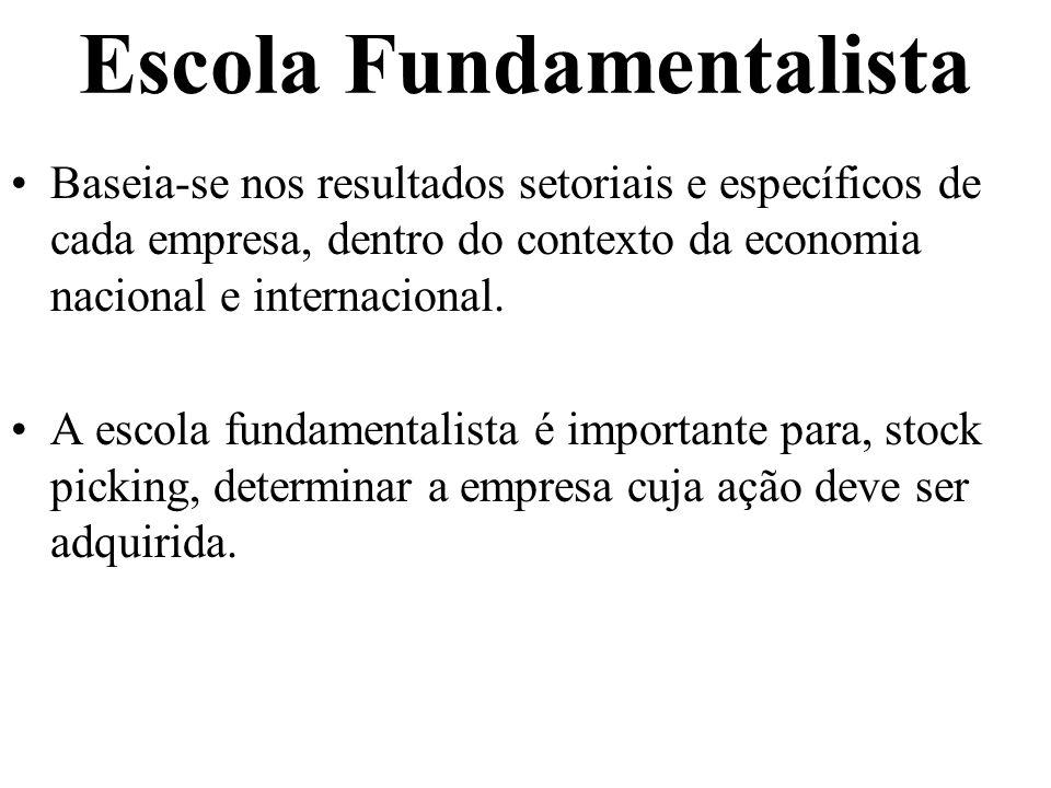 Escola Fundamentalista Baseia-se nos resultados setoriais e específicos de cada empresa, dentro do contexto da economia nacional e internacional. A es