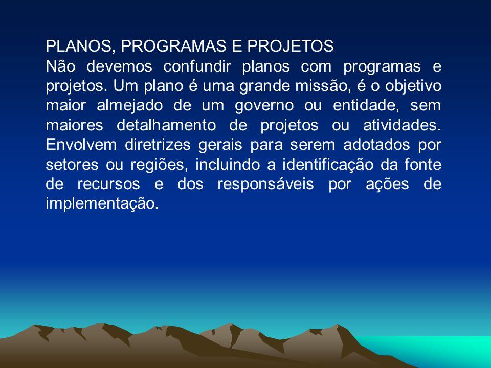 PLANOS, PROGRAMAS E PROJETOS Não devemos confundir planos com programas e projetos.