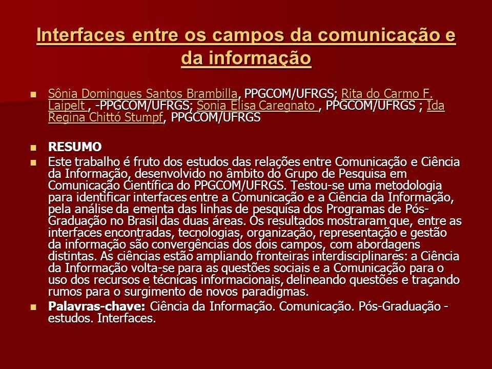 Interfaces entre os campos da comunicação e da informação Interfaces entre os campos da comunicação e da informação Sônia Domingues Santos Brambilla, PPGCOM/UFRGS; Rita do Carmo F.