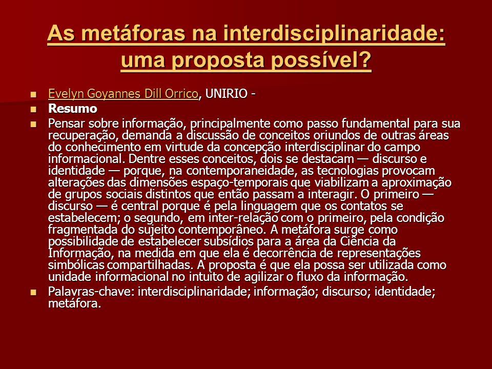 As metáforas na interdisciplinaridade: uma proposta possível.