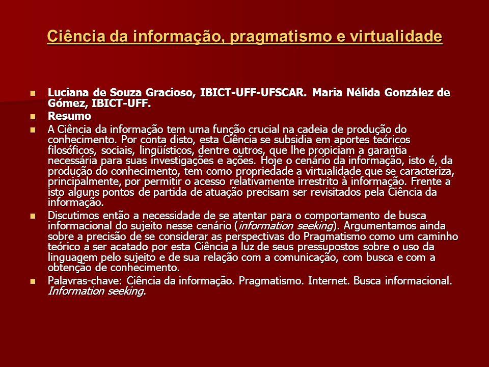 Ciência da informação, pragmatismo e virtualidade Ciência da informação, pragmatismo e virtualidade Luciana de Souza Gracioso, IBICT-UFF-UFSCAR.