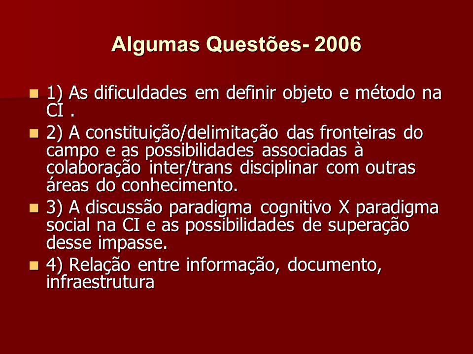 Algumas Questões- 2006 1) As dificuldades em definir objeto e método na CI.
