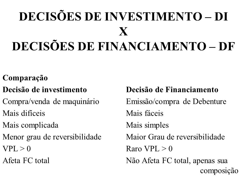 Comparação Decisão de investimentoDecisão de Financiamento Compra/venda de maquinárioEmissão/compra de Debenture Mais difíceisMais fáceis Mais complic