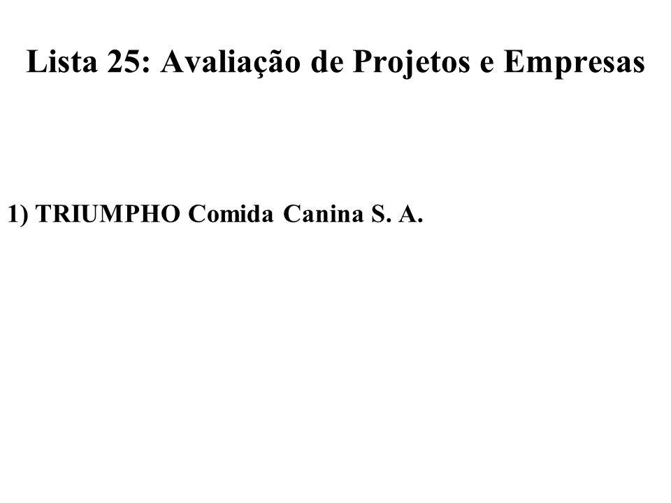 Lista 25: Avaliação de Projetos e Empresas 1) TRIUMPHO Comida Canina S. A.