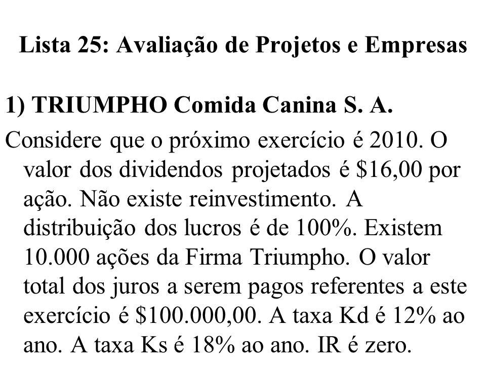 Lista 25: Avaliação de Projetos e Empresas 1) TRIUMPHO Comida Canina S. A. Considere que o próximo exercício é 2010. O valor dos dividendos projetados