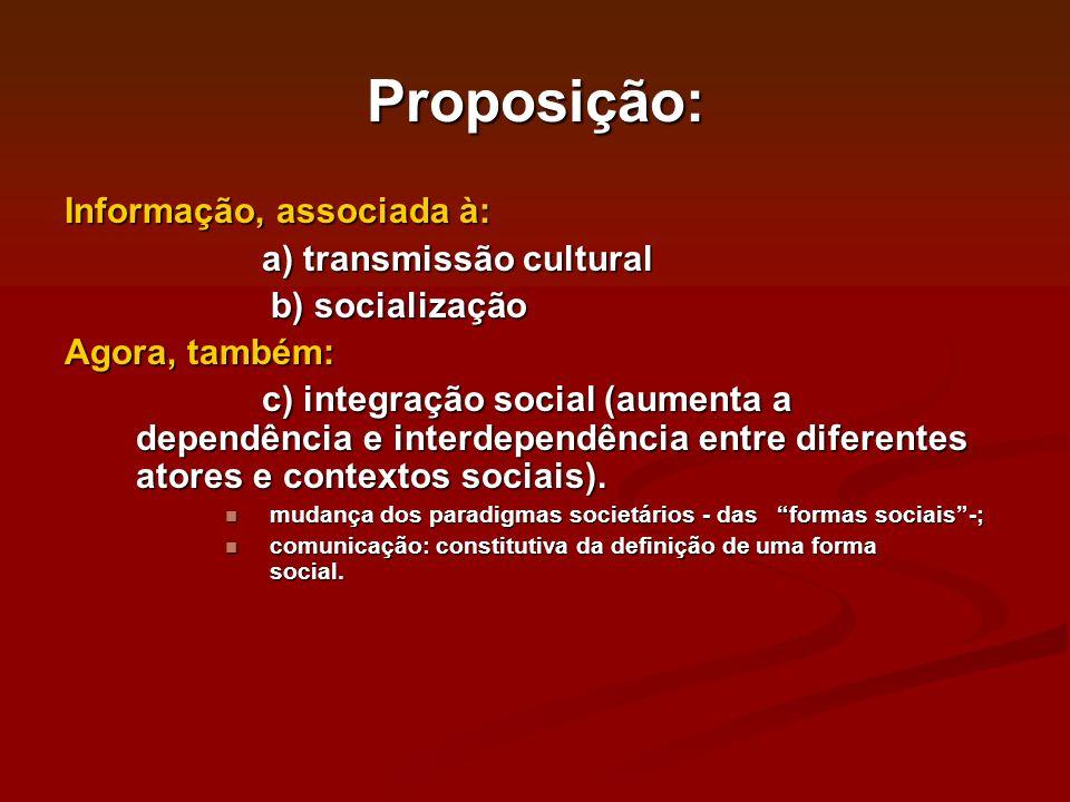 Proposição: Informação, associada à: a) transmissão cultural a) transmissão cultural b) socialização b) socialização Agora, também: c) integração soci