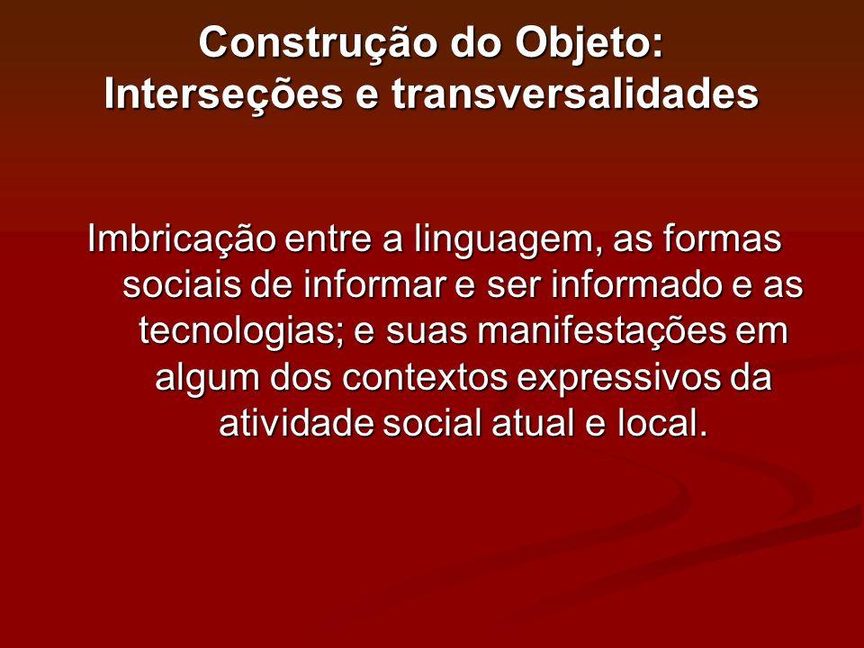 Construção do Objeto: Interseções e transversalidades Imbricação entre a linguagem, as formas sociais de informar e ser informado e as tecnologias; e
