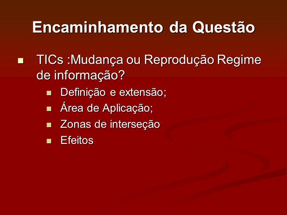 Encaminhamento da Questão TICs :Mudança ou Reprodução Regime de informação? TICs :Mudança ou Reprodução Regime de informação? Definição e extensão; De