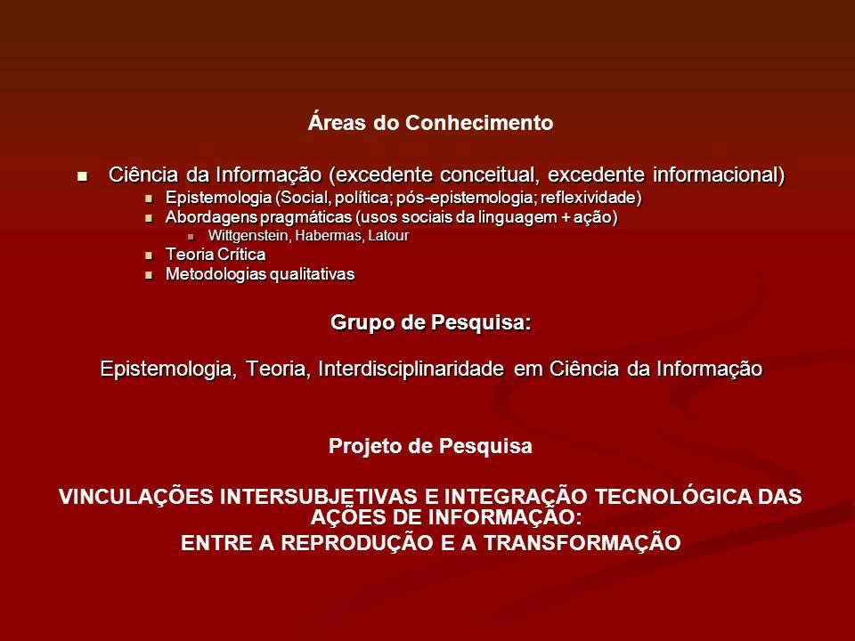 Áreas do Conhecimento Ciência da Informação (excedente conceitual, excedente informacional) Ciência da Informação (excedente conceitual, excedente inf