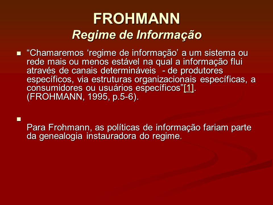 FROHMANN Regime de Informação Chamaremos regime de informação a um sistema ou rede mais ou menos estável na qual a informação flui através de canais d