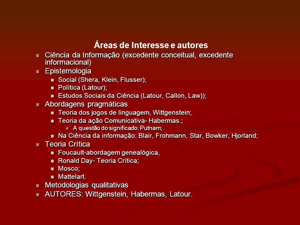Áreas de Interesse e autores Ciência da Informação (excedente conceitual, excedente informacional) Ciência da Informação (excedente conceitual, excede