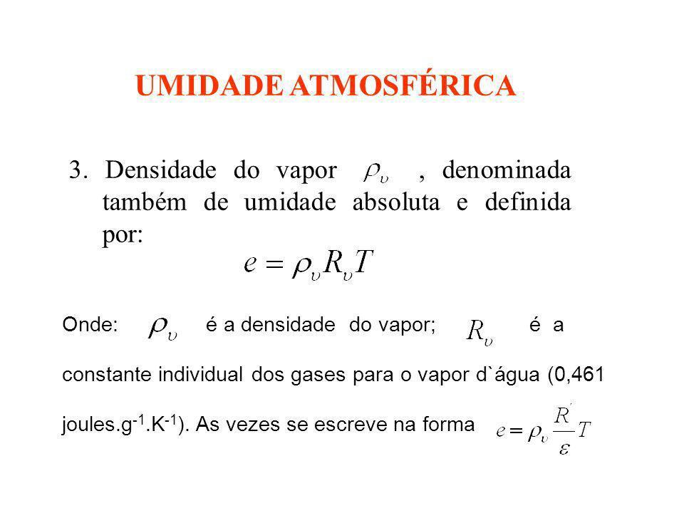 UMIDADE ATMOSFÉRICA 3. Densidade do vapor, denominada também de umidade absoluta e definida por: Onde: é a densidade do vapor; é a constante individua