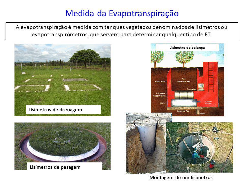 Medida da Evapotranspiração A evapotranspiração é medida com tanques vegetados denominados de lisímetros ou evapotranspirômetros, que servem para dete