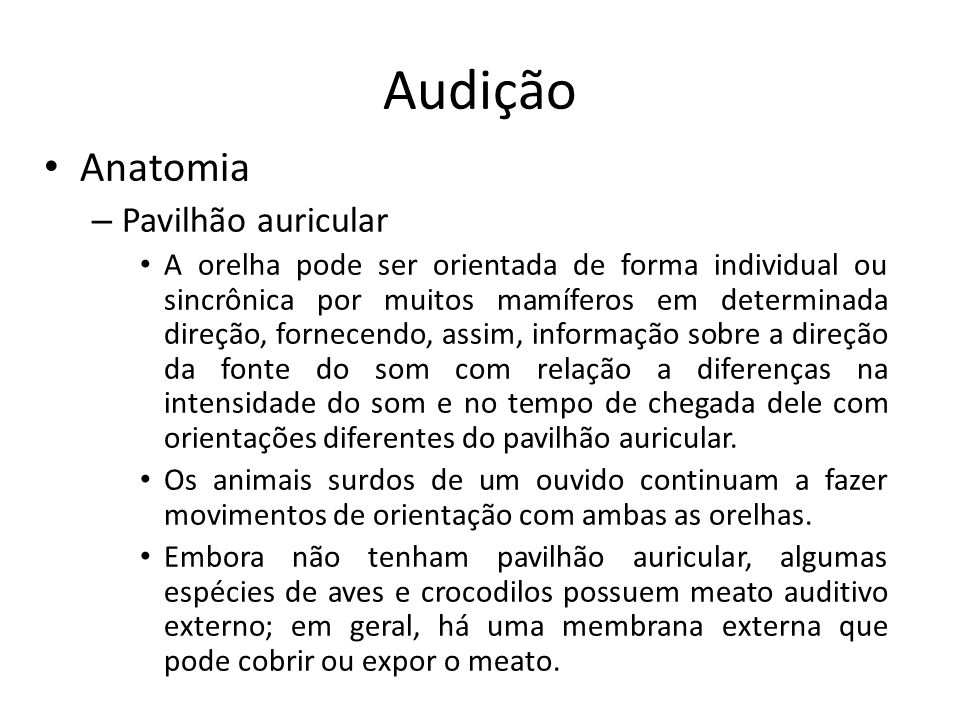 Audição Fisiologia – Condições clínicas auditivas Algumas pessoas com perda da audição ou outra patologia auditiva tem uma sensação subjetiva de ouvir soar uma campainha nos ouvidos, o que é conhecido como tinido ou zumbido.