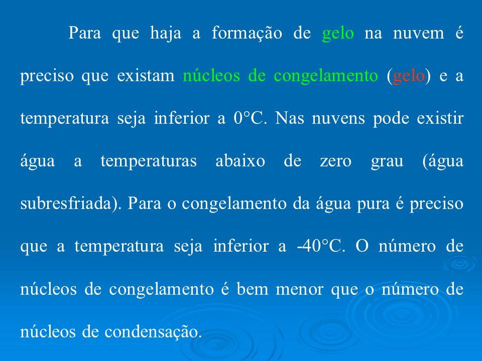 Para que haja a formação de gelo na nuvem é preciso que existam núcleos de congelamento (gelo) e a temperatura seja inferior a 0 C. Nas nuvens pode ex