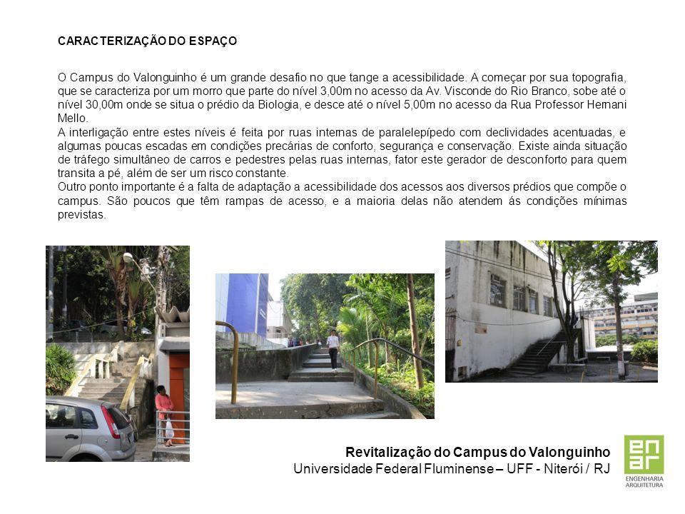 Revitalização do Campus do Valonguinho Universidade Federal Fluminense – UFF - Niterói / RJ CARACTERIZAÇÃO DO ESPAÇO O Campus do Valonguinho é um gran