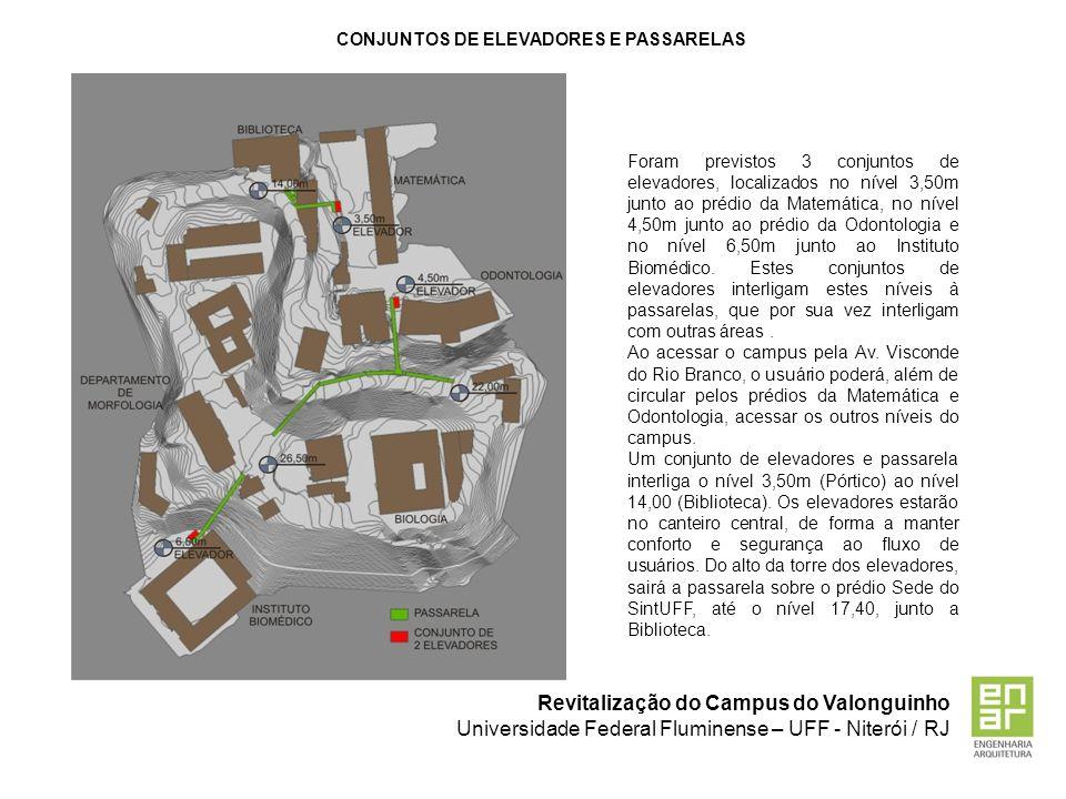 Revitalização do Campus do Valonguinho Universidade Federal Fluminense – UFF - Niterói / RJ CONJUNTOS DE ELEVADORES E PASSARELAS Foram previstos 3 con
