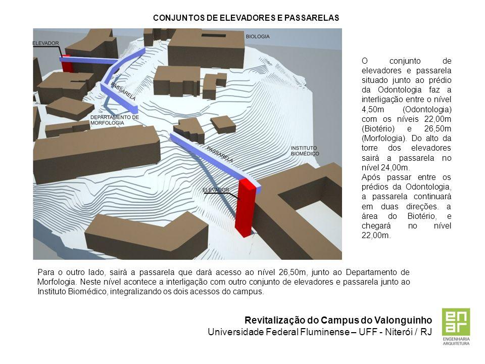 Revitalização do Campus do Valonguinho Universidade Federal Fluminense – UFF - Niterói / RJ CONJUNTOS DE ELEVADORES E PASSARELAS O conjunto de elevado