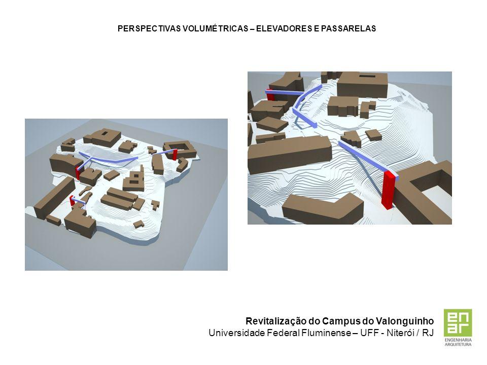 Revitalização do Campus do Valonguinho Universidade Federal Fluminense – UFF - Niterói / RJ PERSPECTIVAS VOLUMÉTRICAS – ELEVADORES E PASSARELAS