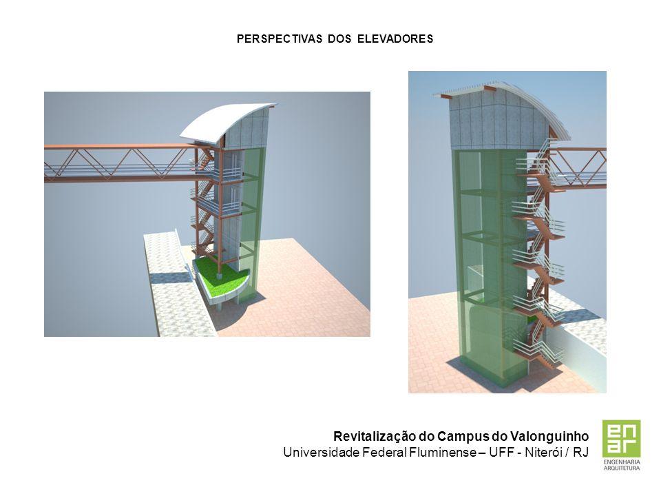 Revitalização do Campus do Valonguinho Universidade Federal Fluminense – UFF - Niterói / RJ PERSPECTIVAS DOS ELEVADORES