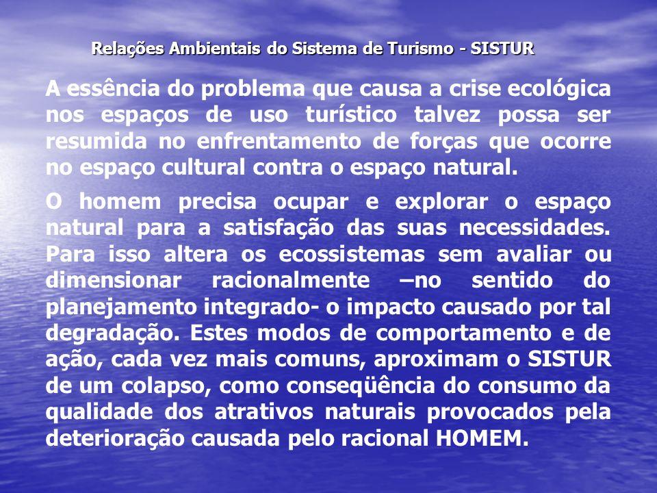 Relações Ambientais do Sistema de Turismo - SISTUR A essência do problema que causa a crise ecológica nos espaços de uso turístico talvez possa ser re