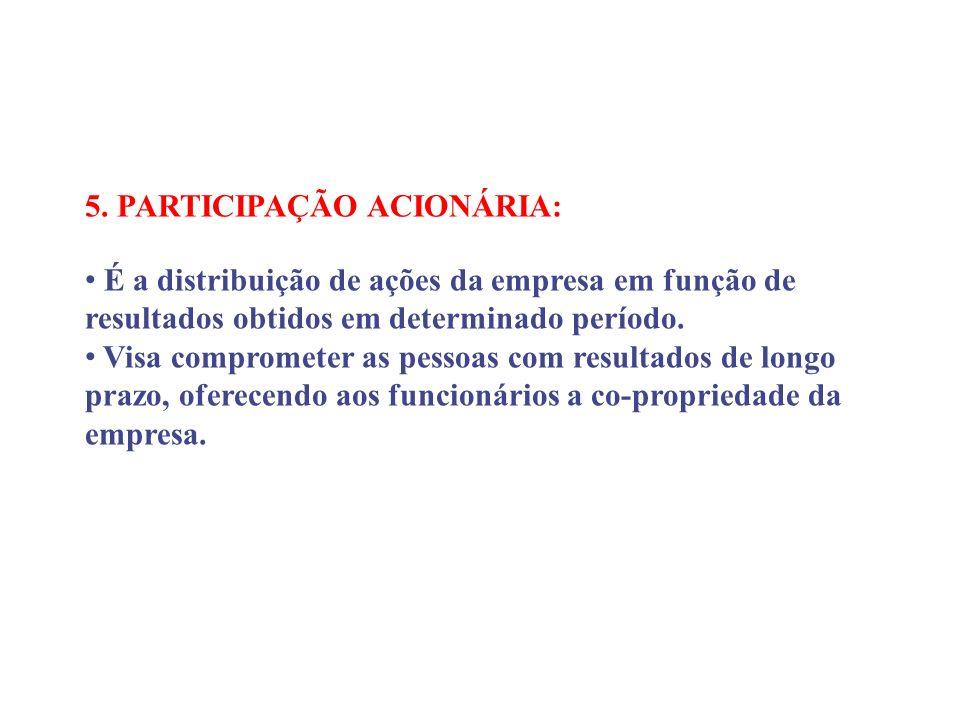 5. PARTICIPAÇÃO ACIONÁRIA: É a distribuição de ações da empresa em função de resultados obtidos em determinado período. Visa comprometer as pessoas co