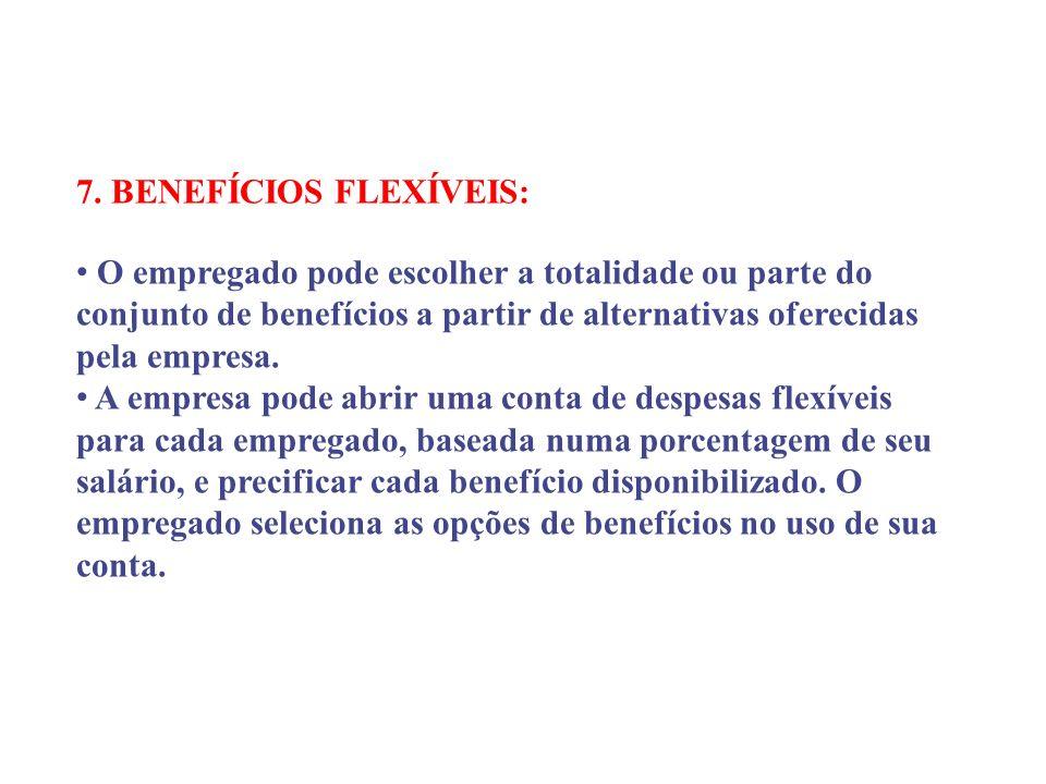 7. BENEFÍCIOS FLEXÍVEIS: O empregado pode escolher a totalidade ou parte do conjunto de benefícios a partir de alternativas oferecidas pela empresa. A