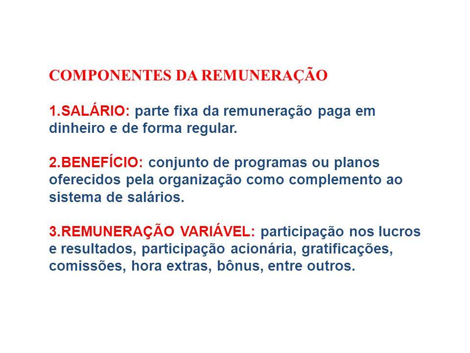 COMPONENTES DA REMUNERAÇÃO 1.SALÁRIO: parte fixa da remuneração paga em dinheiro e de forma regular. 2.BENEFÍCIO: conjunto de programas ou planos ofer