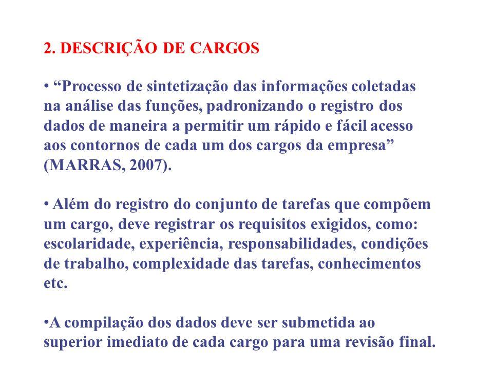 2. DESCRIÇÃO DE CARGOS Processo de sintetização das informações coletadas na análise das funções, padronizando o registro dos dados de maneira a permi