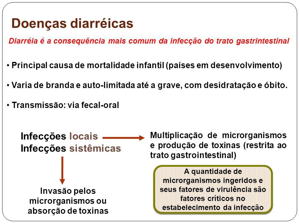 Doenças diarréicas – infecções bacterianas Escherichia coli (maior causa de diarréia bacteriana) 06 patotipos: diferentes mecanismos de patogenicidade E.