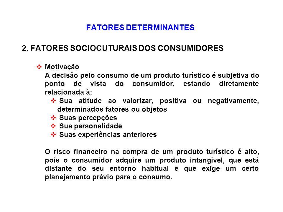 FATORES DETERMINANTES 2. FATORES SOCIOCUTURAIS DOS CONSUMIDORES Motivação A decisão pelo consumo de um produto turístico é subjetiva do ponto de vista